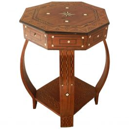 Moroccan Inlaid Side Table Early 20th Century Moorish Games or Sewing circa 1920