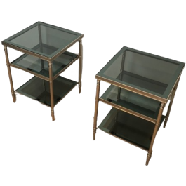 ATT. MAISON JANSEN PAIR OF SILVERED SIDE TABLES