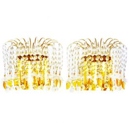 Pair of Wall Lights Sconces Mid Century Two Tier Prism Crystal Drops