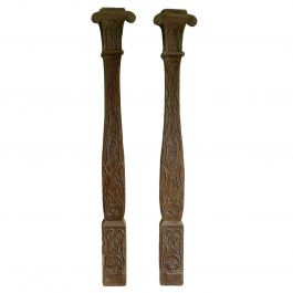 Pair of Hand Carved Oak Columns Sculpted by French Artisan 20th century