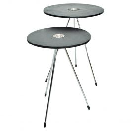 Mid-Century Modern Mexican Round Nesting Tables in Black