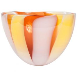 Waves Blown Glass Bowl in Yellow, Pink and Orange