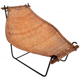 John Risley Wicker and Iron Chair, Mid-Century Modern