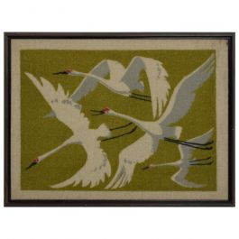 Mid-Century Modern Textile Modern Wall Art Flying Birds