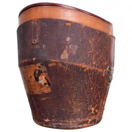 Antique Distressed Luggage Leather Hat Box, 1800s