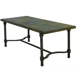Jacques Adnet Coffee Table Slate Stone Top French Midcentury