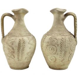 18th Century French White Stoneware Ewers Jugs