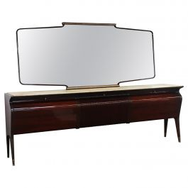 Italian Mahogany and Rosewood and Onyx Top Sideboard with Mirror by Borsani