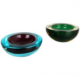 Set of 2 Murano Glass Sommerso Bowl Shells Ashtray Element, Italy, 1970s