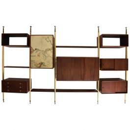 Mexican Modernist Wall Unit in Mahogany and Goatskin