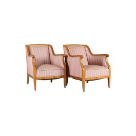 Late 19th Century Swedish Biedermeier Armchairs in Honey Colour