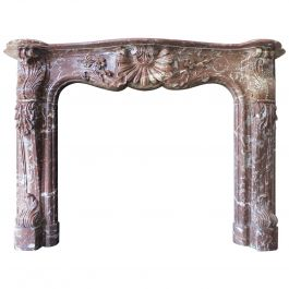 Large Antique French Louis XV Rouge Royal Marble Fireplace Mantel