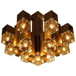 1960s Cubic Chandelier In Chrome, Brass & Glass By Gaetano Sciolari
