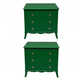 A Pair Of Green Lacquered Chests