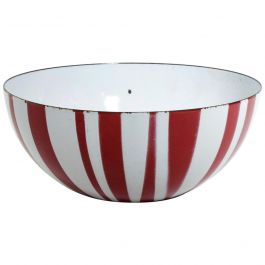 Catherine Holmes Decorative Red Enamel Stripes Salad Bowl MOMA Danish Moder