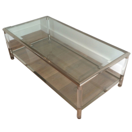 LARGE CHROME AND LUCITE COFFEE TABLE