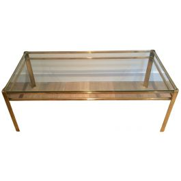 Attributed to Jacques Quinet. Brass Coffee Table