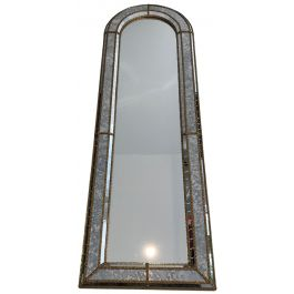 Multi-Facets Brass Garlands Mirror Rounded on Top