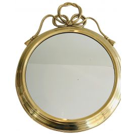 Decorative Oval Brass Mirror with Large Noddles