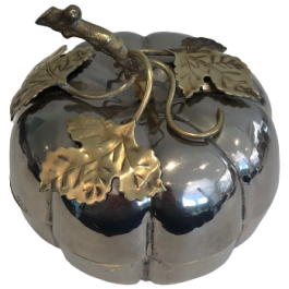 Silver Plated And Brass Pumpkin Ice Bucket. French