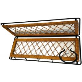 RATTAN AND BLACK LACQUERED METAL COAT HANGER.