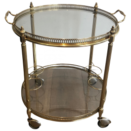 ROUND NEOCLASSICAL STYLE BRASS DRINKS TROLLEY.