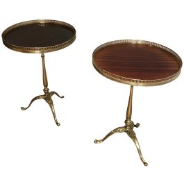 PAIR OF NEOCLASSICAL STYLE BRASS & MAHOGANY TABLES