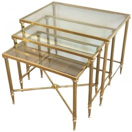 SET OF 3 BRASS AND GLASS NESTING TABLES