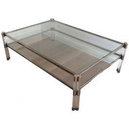 Large Lucite and Chrome Coffee Table with 2 Glass
