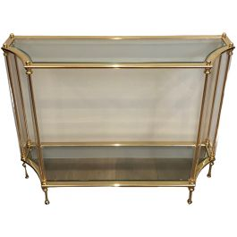 Gilt Metal, Lucite and Glass Console