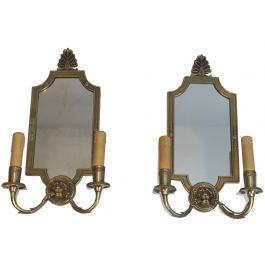 Pair of Empire Style Bronze wall Sconces with Lion