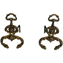 Pair of Neoclassical Style Bronze Andirons