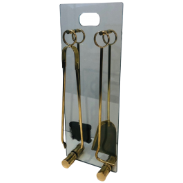 Brass and Glass Fire Place Tools Set. Circa 1970