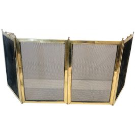 Brass & Grilling 4 Panel Folding Fire Place Screen