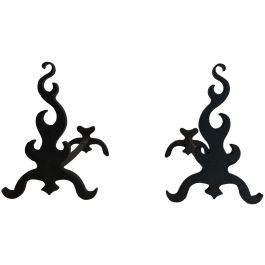 Pair Of Cast Iron and Wrought Iron Andirons. 1940