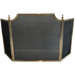 Neoclassical Style Brass Fireplace Screen
