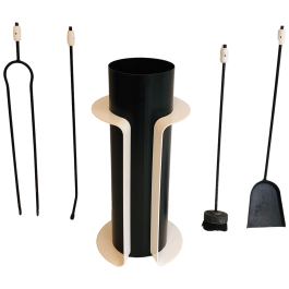 Black and White Lacquered Design Fireplace Tools