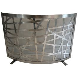Brushed Steel Design Fireplace Screen