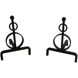 Pair of Modernist Wrought Iron Andirons