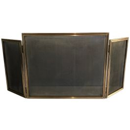 Brass and Grilling Folding Fireplace Screen