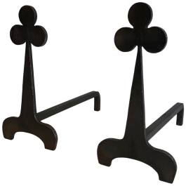 Pair of Steel and Wrought Iron Clovers Andirons