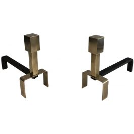 PAIR OF MODERNIST BRASS AND WROUGHT IRON ANDIRONS