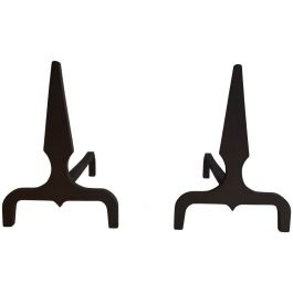 PAIR OF PYRAMID STEEL AND WROUGHT IRON ANDIRONS