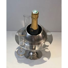 SILVER PLATED CHAMPAGNE BUCKET WITH FLUTES HOLDER