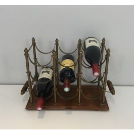 NEOCLASSICAL STYLE BRASS AND WOOD BOTTLES RACK