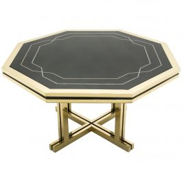 Unique Black Lacquer and Brass Maison Jansen Dining Table, 1970s