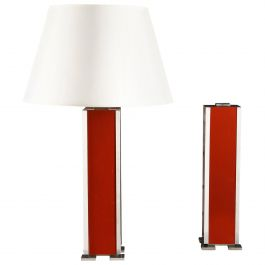 Pair of 20th Century Red Lacquer and Nickel Metal Lamps after Maison Charles