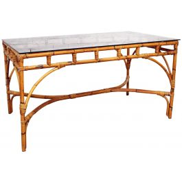 1970's French Riviera Bamboo Smoked Glass Topped Dining Table