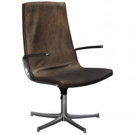 Walter Knoll Leather Office / Desk Swivel Armchair, Germany, 1975