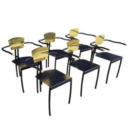 1980's Brass And Black Memphis Chairs Set Of Six